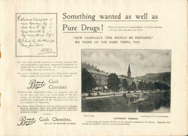 Derwent Parade, Matlock Bath (shows river and landing stage) / Advert for Boots Cash Chemist