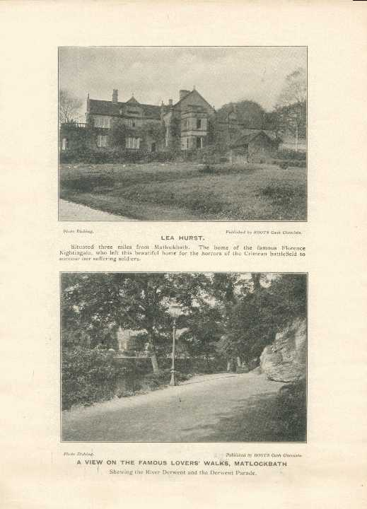 Lea Hurst [home of Florence Nightingale] / A View of the Famous Lovers' Walks, Matlock Bath