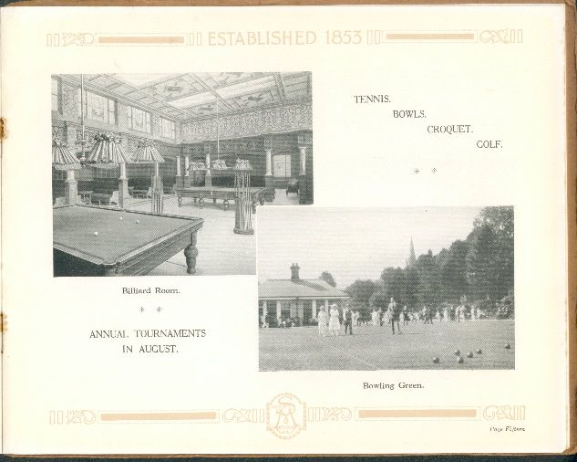 Amusements Continued - Billiard Room and Bowling Green
