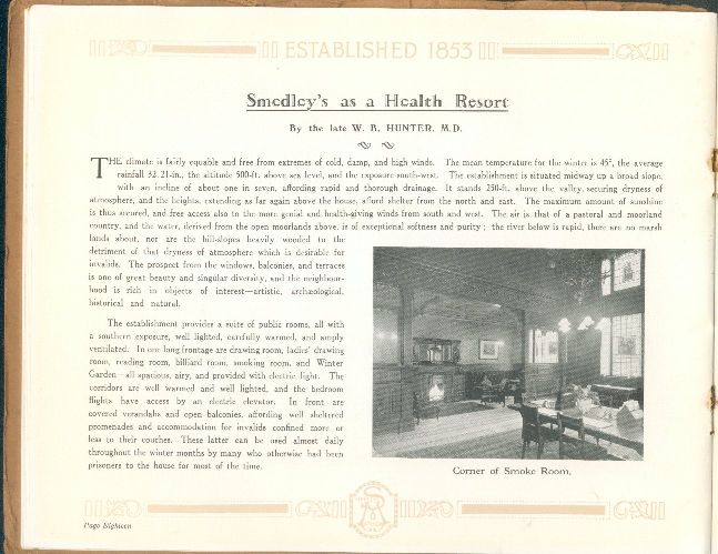 Smedley's as a Health Resort,  with photo of Corner of the Smoke Room